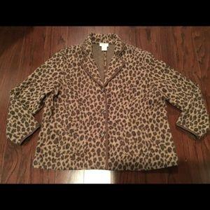 Talbots Woman leopard print merino wool sweater 3X